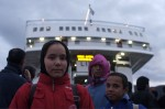 young girl infront of the ferry